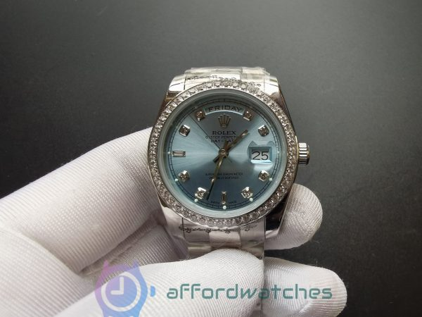 Rolex Day-date 118346 36mm Stainless Steel Ice Blue For Men Watch