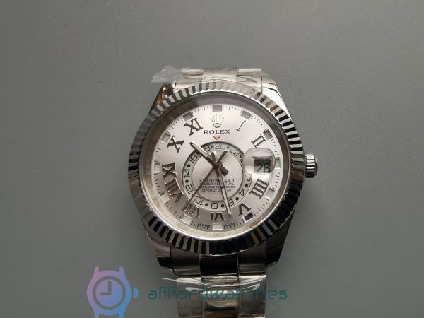 Rolex Sky-dweller 18k White Gold Case Silver Dial And 42mm For Men Watch
