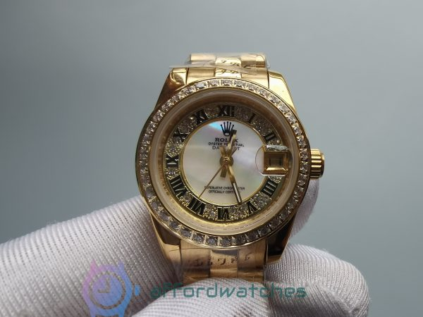 Rolex Datejust 18ct Yellow Gold Case Diamond Dial And 28mm For Women Watch