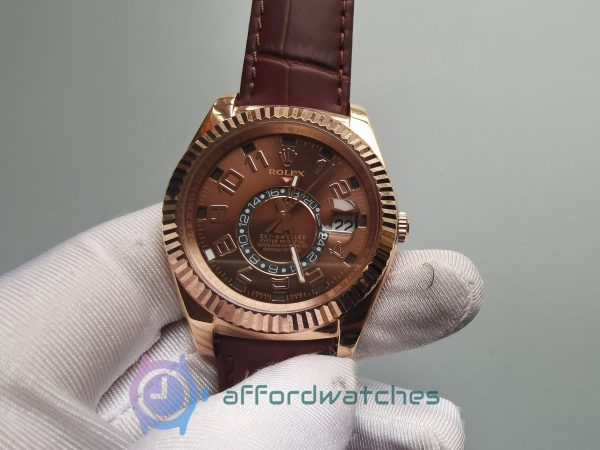 Rolex Sky-dweller 326135 Brown Crocodile Chocolate Brown 42mm For Men Watch