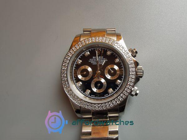 Rolex Daytona Swiss 316l Steel And Black Dial For Women Watch