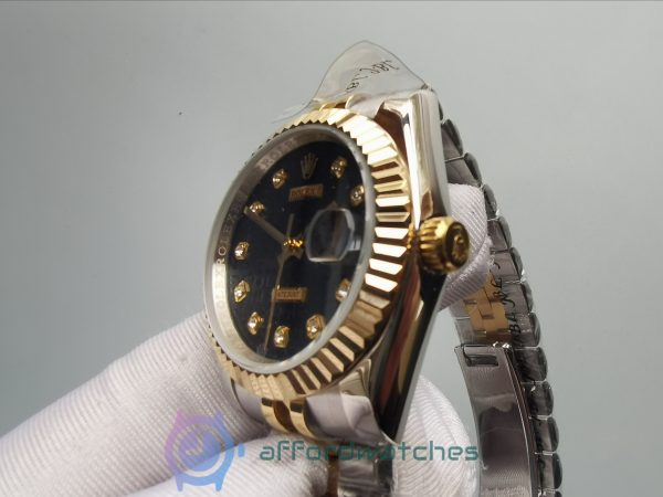 Rolex Datejust 116233 Black Jubilee Diamond And 18k Yellow And Stainless Steel 36 Mm For Women Watch